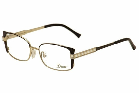 Diva Women's Eyeglasses 5458 C2 Black/Gold/Crystal Full Rim Optical Frame 51mm