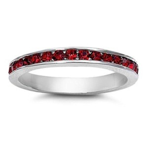 2mm Sterling Silver Stackable Red Simulated GARNET Eternity Engagement Ring 4-10