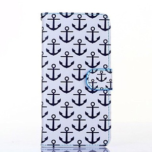 Anchor Pattern PU Leather Full Body Case with Stand for iPhone 6S/6 Plus ( Compatible Models : IPhone 6s Plus/6 Plus )