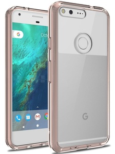 LK Air Hybrid Armor Defender Shock Absorption Protective Case with Crystal Clear Back Cover for Google Pixel XL - Rose Clear