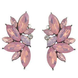 Retro Crystal Zircon Glass Leaves Shape Stud Earring