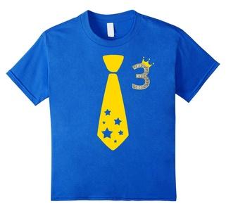 Kids 3rd Birthday Gift Three Year Old T-Shirt Necktie Tie Crown 10 Royal Blue