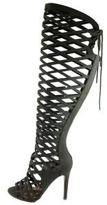 Witness Womens Thigh High Criss Cross Cut Out Open Toe Dress Sandals Khaki