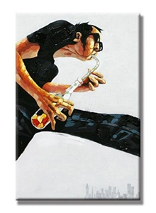Charming Charm- Saxophone Art Hand Painted Oil Painting with Stretched Frame Wall Art 24 x 36 Inch