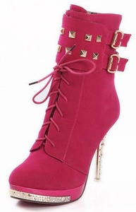CHFSO Women's Elegant Stiletto Rivet Round Toe With Buckle Above Ankle High Heel Platform Boots