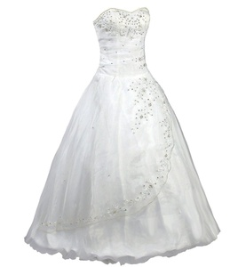 Mgoraya White Ivory Strapless Beading Formal Wedding Dress Prom Gown (4, Ivory)