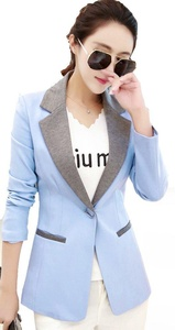 MWW Women's Business Blazers Junior¡¯s V-Neck Casual Suits One Button Jackets Blue blazers