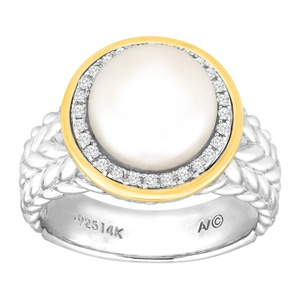 Button Freshwater Cultured Pearl & 1/8 ct Diamond Ring in Sterling Silver & 14K Gold Size 7