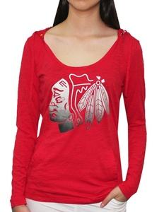 NHL CHICAGO BLACKHAWKS Team Logo Long Sleeve Hooded T Shirt for Women L Red