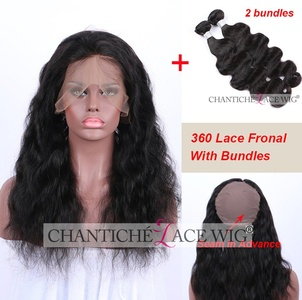 Chantiche 360 Full Lace Band Frontal with Hair Bundles Body Wave Brazilian Virgin Human Hair Extension Lace Front Closure with Bleached Knots 12inches Frontal +14 14 inches Weft Natural Color
