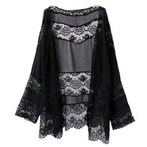 UPLOTER Women Lace Chiffon Kimono Cardigan Blouse Coat