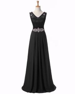Angel Formal Dresses Women's V Neck V Back Rhinestone Chiffon Bridesmaid Dress Evening Prom Dress(18,Black)