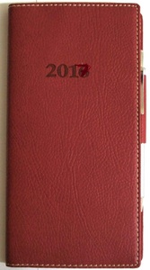 2017 Italian Bonded Leather Red Weekly Pocket Planner Calendar With Pen