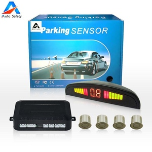 Car Reverse Backup Radar System, Auto safety parking sensor kit ,LED Dispaly + Human Voice Alert +4 sensors+4 colors for Universal Auto Vehicle (champagne)