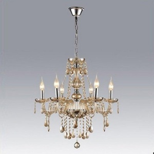 ding Faceted Champagne Crystal Beads and Droplets 6 Candle Lights Chandelier