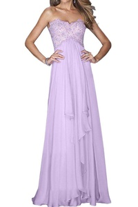 Winnie Bride Classy Sweetheart Prom Gown Long Empire Maternity Dress for Women-16W-Lilac