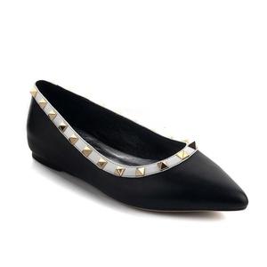 VASHOP Women's Pionted Toe Rivets Floral Printed Dance Ballet Flat Loafer Shoes,Black/5