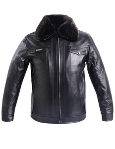 ZANLICE Men's Detachable Collar Fleece Lining Faux Leather Jacket Small Black
