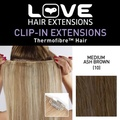 Love Hair Extensions Thermofibre Clip in Extensions Silky Straight Colour 10 Medium Ash Brown 18 -Inch by Love Hair Extensions