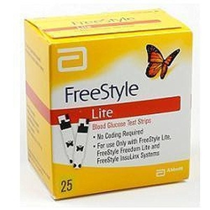 Strips For The Control Of Blood Glucose Package 25 by Free Style Lite