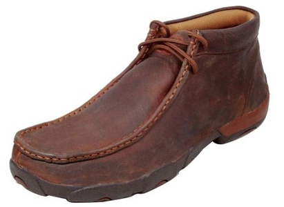 Twisted X Men's Driving Lace-Up Moccasin Shoes Round Toe Copper 12 D(M) US by Twisted X