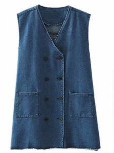 Cruiize Women's V-Neck Double Breasted Medium Long Denim Vest Navy blue L