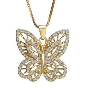 Gudeke Fashion Simple Womens Noctilucent Butterfly Diamonds Necklaces Pendants with 50cm Chain