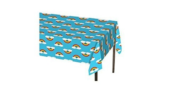 Rainbow Clouds Plastic Tablecover by Party Supplies