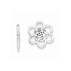 .925 Sterling Silver 14 MM Flower Earring Enhancers (No Earrings)