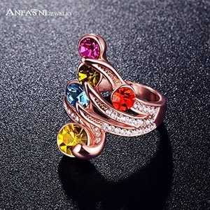 Slyq Jewelry Multicolour Angel Wing Rose Gold PlatedSWA Stellux Austrian Crystal Jewelry Ri-HQ0199
