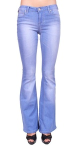 Celebrity Pink Jeans Women Middle Rise Flare Jeans with Gold Stitch 9 Light Denim