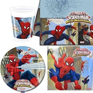 Spiderman Web Warriors Party Tableware pack for 8 by Party Bags 2 Go