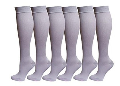 6 Pairs Pack Women Dr Motion Graduated Compression Knee High Socks (Beige) by Dr. Motion