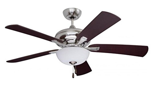 Brushed Steel Monterey Lumina 52in. 5 Blade Ceiling Fan - Blades and Light Kit Included