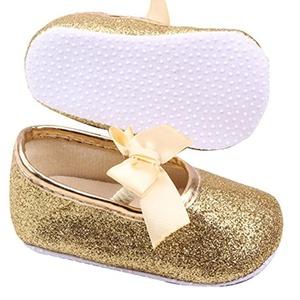 Newborn Baby Girl Anti-slip Soft Bottom Bows Prewalker Shoes Glitter Party First Walking Shoes Gold