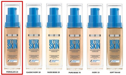 Maybelline Superstay Better Skin Skin-Transforming Foundation - PORCELAIN 10
