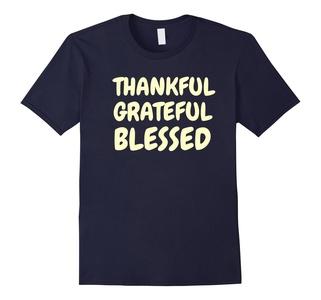 Men's Thankful Grateful Blessed Amazing Holy Christian T Shirt 3XL Navy