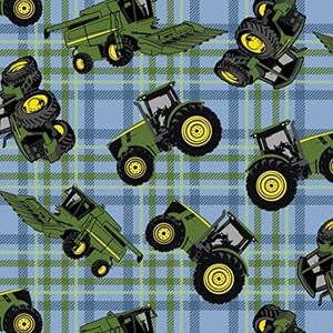 John Deere Tractors on Plaid Blue Fabric From Springs Creative By the Yard