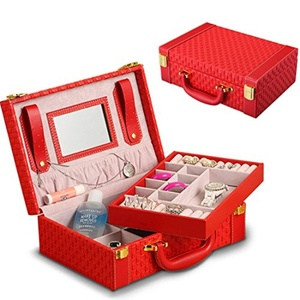 ONEONEY 2 Trays Box Organizer Display Storage Case For Earring Ring Necklace Bracelet & Watch With Lock & Mirror