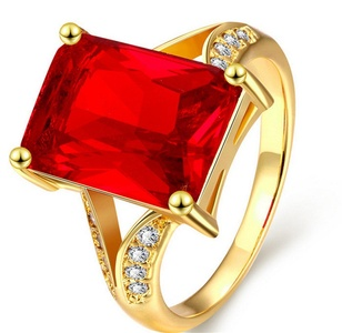 Cherryn Jewelry Austrian Crystal Wedding Ring gold/Rose Gold Plated Vintage Ruby Jewelry Personality Elegant Big Glass Stone Finger Rings