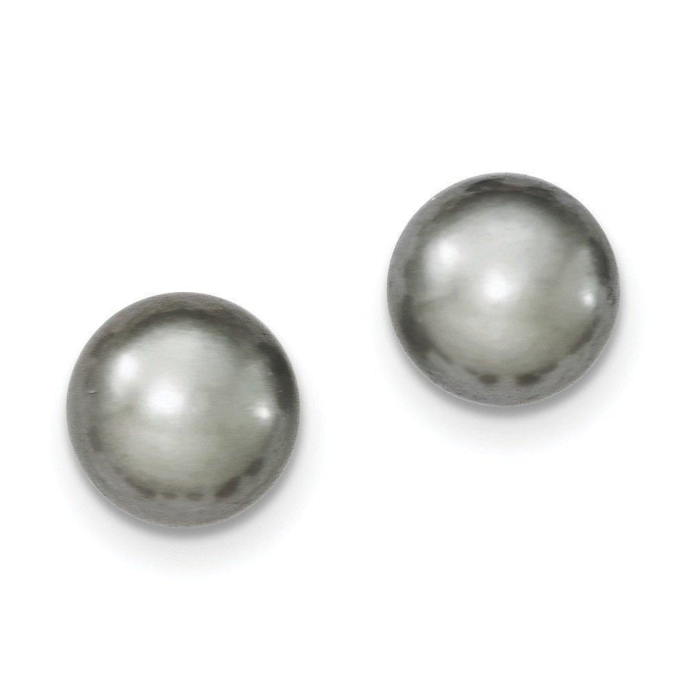 .925 Sterling Silver 11-12MM Grey Freshwater Cultured Button Pearl Stud Earrings