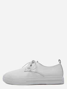 Faux Leather Round Toe Lace Up White Sneakers