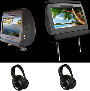 Myron Davis PMK9LR Dual 9-Inch Touch Screen Wifi LCD / DVD OEM Headrest Replacement Kit with Android OS, SD, USB, and SPSC Smart Phone Input 2 - Headphones