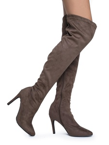 Faux Suede - Pointy Toe Stiletto - High Heel Over The Knee OTK Boots