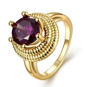 Cherryn Jewelry Gold Plated Bohemia Amethyst Ring for L Wedding Cubic Zircon invisible setting womens gold wedding bands Rings