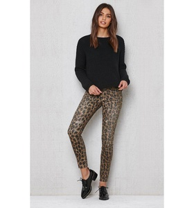 Pacsun Womens Leopard Ripped Mid Rise Skinny Jeans