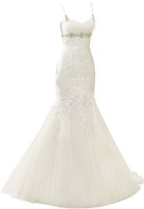 Rachel Weisz Women's Sexy Spaghetti Mermaid Beading Lace Wedding Dresses Bride Evening Formal Ball Gown White US16