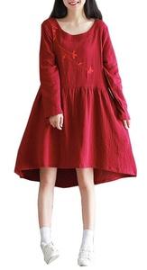 Plaid&Plain Women's Loose Floral Embroidery Knee Shift Cotton Linen Dress Red US 6