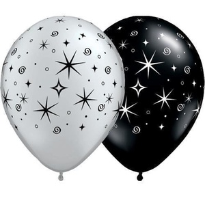 Silver & Black Sparkles & Swirls 11 Qualatex Latex Balloons (10 Pack) by Qualatex