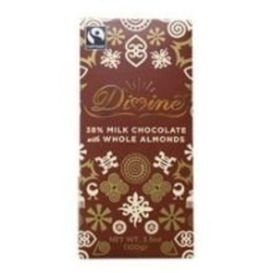 Divine 38 Percent Milk Chocolate Bar with Whole Almonds, 3.5 Ounce -- 10 per case. by Divine Chocolate